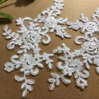 Bridal Evening Dress Lace Applique Floral Corded Wedding Costume DIY Motif 1Pair