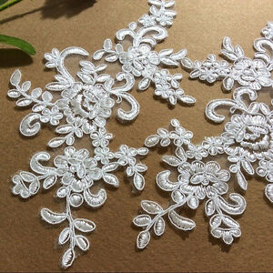 Bridal Evening Dress Lace Applique Floral Corded Wedding Costume DIY Motif 1Pair