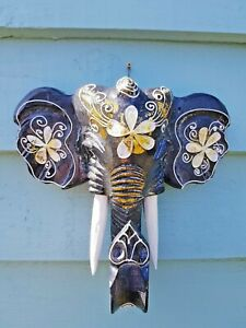 STUNNING HAND CARVED ELEPHANT HEAD (HAND PAINTED / DARK GREY / WALL HANGING))