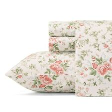 Laura Ashley Floral Cotton Sheet Set QUEEN Size Lillian Pattern 300 Thread Count