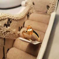 Stunning Brazilian AAA Citrine Solitaire ring in 14k Gold over Sterling Silver