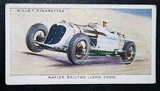Cobb's  Napier Railton Track Racer    Vintage Motor Racing Card  VGC