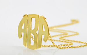 Circle Block Monogram Necklace,18K Gold Plated 3 Initial Necklace,Name Necklace