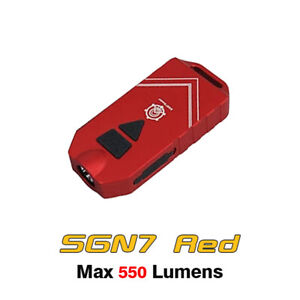Mecarmy SGN7 LED Mini Rechargeable Attack Alarm Flashlight Torch - Red