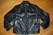 Vintage SCHOTT NYC Black Heavy Duty Leather Motorcycle FLIGHT Jacket Size 44