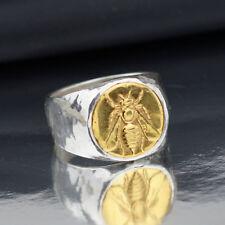925 k Sterling Silver Bold Men's Ring w/ Bee Coin Roman Art Handmade By Omer