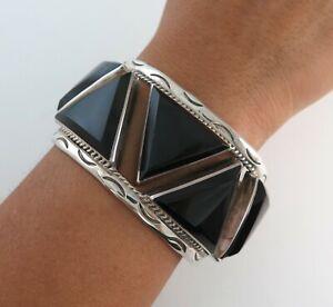 BOLD XL Sterling Silver & Triangular Onyx Heavy 97 Gram Cuff Bracelet