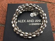 BOX & CARD ALEX and ANI VINTAGE 66 GROOVE Russian SILVER Beaded Wrap BRACELET
