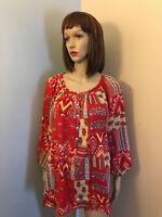 RALPH LAUREN CHAPS Sz L Red Cotton Floral HENLEY PEASANT BLOUSE TOP 3/4 Sleeve