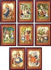Vintage Alice in Wonderland tintype frame 8 cards tags ATC altered art set A