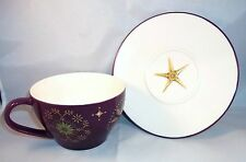 Starbucks Holiday Collection Dark Purple Gold Star Mug Cup Saucer Set 2006