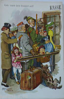 """"""" Scherzkarte, Koffer, Hund """" ca. 1900, Serie 3985 ♥ (1639)"""