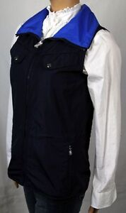Ralph Lauren Navy Blue Revsable Vest Silver Snaps NWT Small S