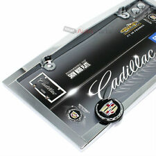 Cadillac Chrome License Plate Tag Frame for Auto-Car-Truck + 2 Screw Bolt Caps