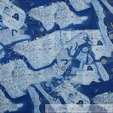 BonEful Fabric FQ Cotton Quilt Blue White New York City Central Park Toile Map L