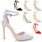 LADIES ANKLE STRAP POINTED HEELS WOMENS PARTY PROM BRIDAL STILETTO COURT SHOES