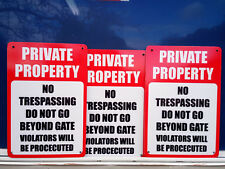 No Trespassing Private Property gate Pack3 Metal Sign 300x225mm Fast Delivery
