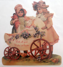 Victorian Turn Of The Century Easter Card Children Kids Bunny In Baby Carriage