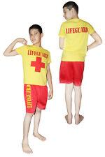 Boy's Red Yellow Life Guard Children Costume Rescue Team Kids School Fancy Dress