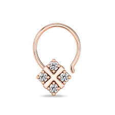 FASHION FOUR STONE 14K ROSE GOLD FN STERLING SILVER CZ D/VVS1 WOMEN'S NOSE PIN