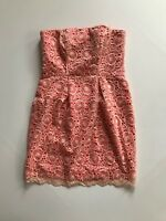 Jessica Simpson Scalloped Lace Strapless Party Cocktail Dress SZ 8 Coral Pink