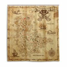 Eco-friendly Treasure Map Shower Curtain Polyester Waterproof Bath Curtains