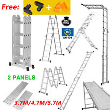 3.7/4.7/5.7M Aluminium Folding Extendable Ladder Multi Purpose Platform Scaffold