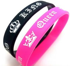 2x King Queen Couples Silicone Bracelets Charm Wristbands Anniversary Xmas Gift