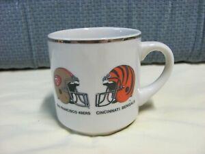 Super Bowl XXIII Coffee Mug San Francisco 49ers Cincinnati Bengals Gold Rim