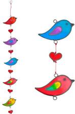 Stained Glass String of 5 Birds Sun Catcher Hanging Window Decoration Love Bird