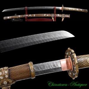 JP Taizong Tachi Samurai Sword Katana Ladder Pattern Damascus Steel Sharp #2827