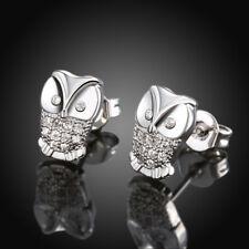 18k White Gold Filled Clear Crystal Ladies Owl Stud Earrings Jewellery