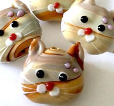 Lampwork Handmade Glass Taffy Cat Head Beads (4)