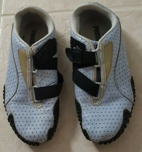 Puma Mostro Perforated Leather Blue Sportstyle Sneakers Shoes slip on clasp sz 7