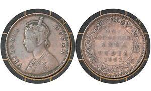 ¼ Anna 1862 🇬🇧 British India  🇮🇳  Coin // Queen Victoria #  467