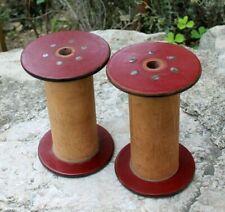 2 bobines de fil en bois et bakélite vintage
