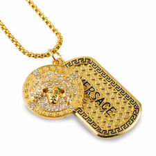 Medusa Head Gold Plated Chain Necklace Bling Dog Tag U.K