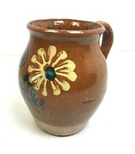 Glazed Pottery Handled Jug Daisy Floral Yellow Rustic Farmhouse Cottage