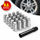 20 CHROME 12X1.5 SPLINE LUG NUTS CONICAL ACORN + KEY FOR FORD TAURUS C-MAX CHEVY
