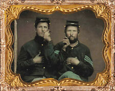CIVIL WAR PHOTOGRAPH Two unidentified soldiers in Union uniforms holding cigars