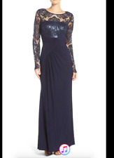 Eliza J Navy Blue Sequin Sheer Lace Long Sleeve Ruched Stretch Jersey Gown Sz 16