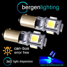 2X BAX9s H6W 434 CANBUS ERROR FREE BLUE 5 LED SIDELIGHT BULBS HID SL101501
