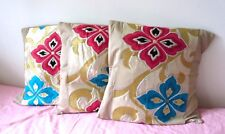 SET OF 3 HANDMADE BEIGE CUSHION COVER WITH VINTAGE JAPANESE OBI PANELED NEW