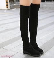 Elastic  Women's Skinny Stretchy Long  Over Knee Boots Knitted Slim Fit New Shoe