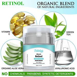 Teleios Retinol Anti-aging Cream Collagen Fine Lines Green Tea+HA Acid +Jojoba