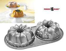 Nordicware BUNDT DUET 5 Cup *Fleur de Lis & KUGELHOPF Bundtletes MINI CAKES *New