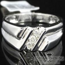 MENS NEW 10K WHITE GOLD .10CT GENUINE REAL DIAMOND WEDDING ANNIVERSARY RING BAND