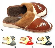 Natural High Quality Leather Women Ladies Indoor Home Shoes Slippers Mule Warm