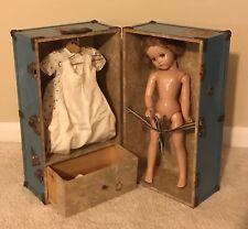"Arranbee R&B 18"" Vintage Composition Sleepy Doll in Large Madame Alexander Trunk"