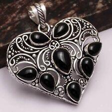 "Black Onyx Ethnic Handmade Heart Pendant Jewelry 2.2"" AP 18430"